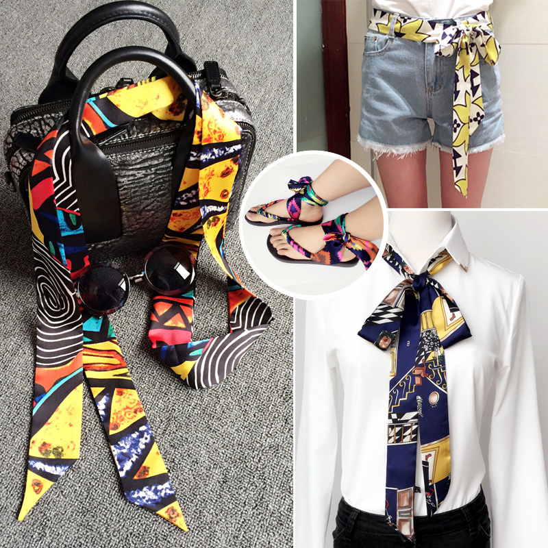 Japanese Narrow Long Silk Scarf For Women New Design Printed Fashion Head Scarf Brand Small Tie Bag Skinny Constellation Scarf
