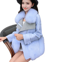 Yeni Kış İmitasyon Süet Ceket Kadın Faux Fox Kürk Yaka Moda Deri Ceket Marka Kürk Dikiş Hem Deri Ceketler CT300