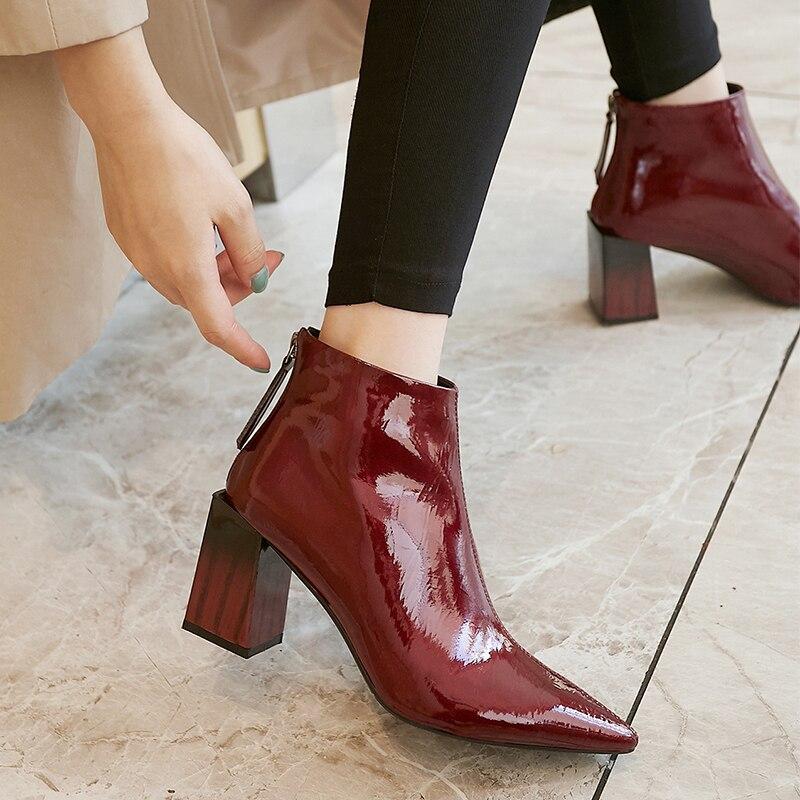 INS femmes bottines en cuir verni grande taille 22-26 cm longueur talon carré chaussons coréen décontracté bottes Chelsea sauvages