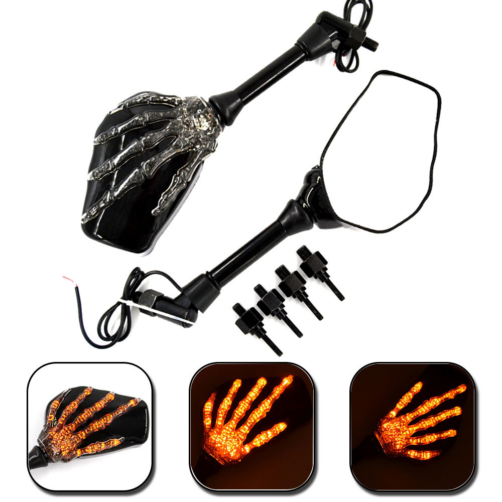 BJMOTO Motorcycle Mirror Skull Integrated LED Turn Signal Mirrors Motorbike Side Rearview Mirror For Yamaha Road