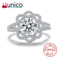 UUNICO 2018 hot sterling silver female ring wedding jewelry S925 white gold rose luxury inlaid zircon ring Valentine's Day gift.