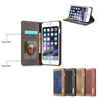 Card Holder Canvas Leather Celular For Apple IPhone 5 6 6PLus SE Luxury Flip Wallet Automatic