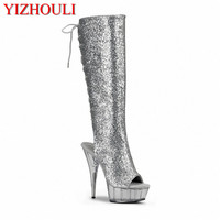 High heels, 15CM performance shoes, followed by spring and autumn single shoes, high boots with Dance Shoes