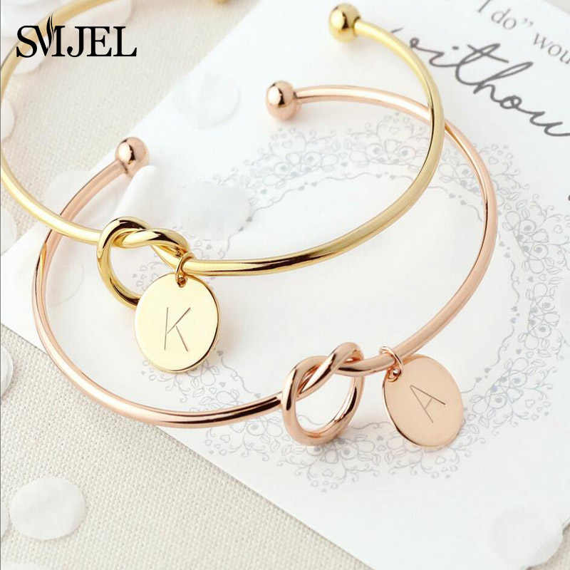 SMJEL Name Love Knot Bangles with A-Z 26 Initial Letter Bracelets Bangles for Women Wedding Jewelry bijoux femme