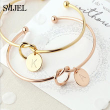 SMJEL Name Love Knot Bangles with A-Z 26 Initial Letter Bracelets Bangles for Women Wedding Jewelry bijoux femme(China)