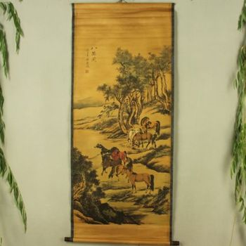 Exquisite Chinese Antique collection Imitation ancient Eight Horses Picture