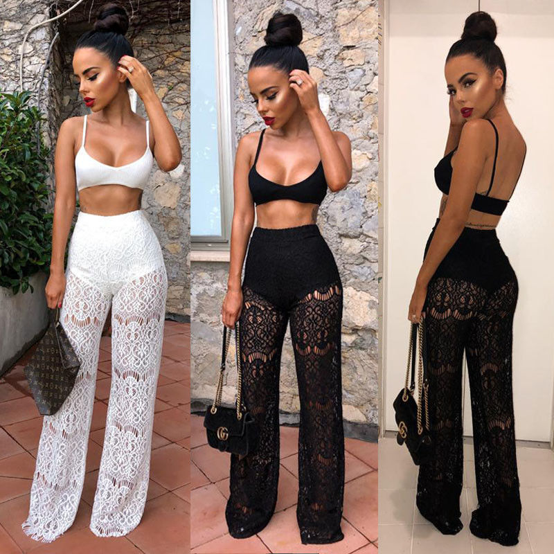 Women Summer 2 Piece Strappy V Neck Crop Top And Pants Bodycon Outfit Long Suit Casual Clothes