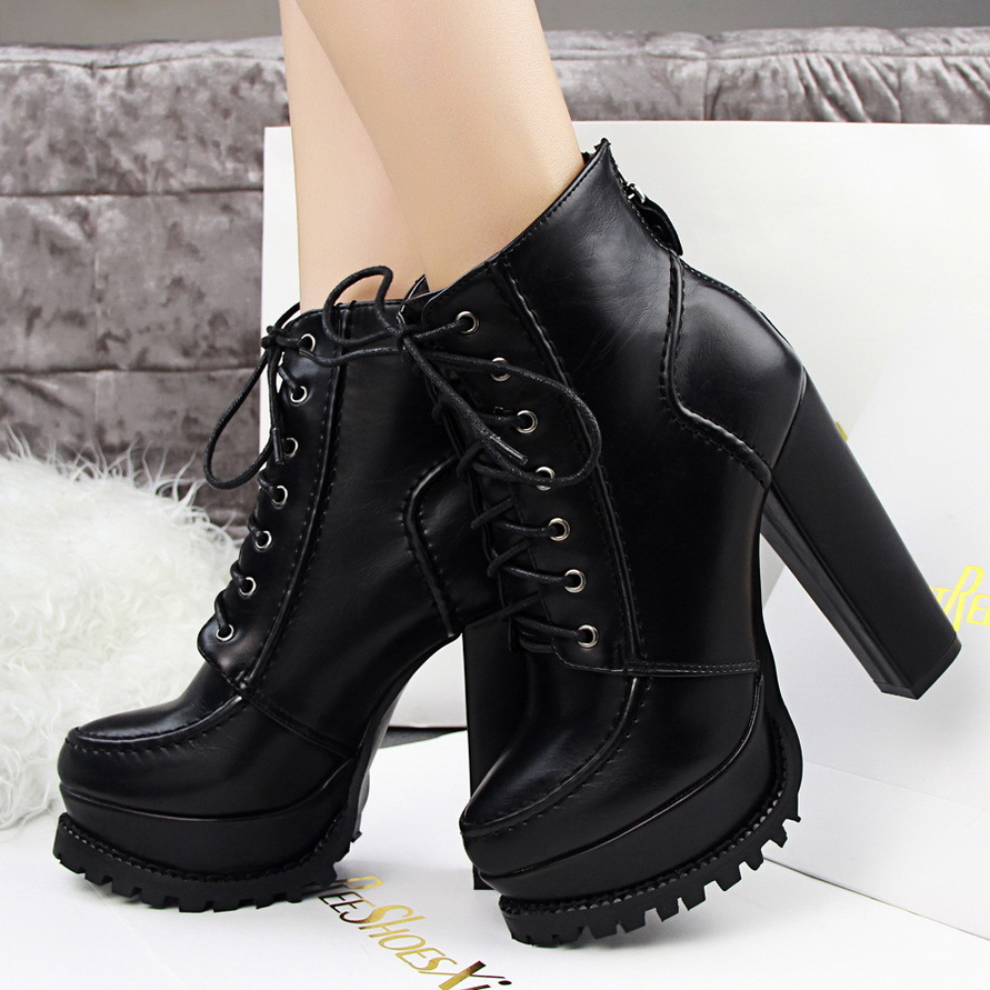 024c674e069 Brand Ladies 13cm Black Leather Platform Chunky High Heel Ankle Boots Lace  Up Zip Rubber Sole Fashion Womens Casual Boot Heels-in Ankle Boots from  Shoes on ...