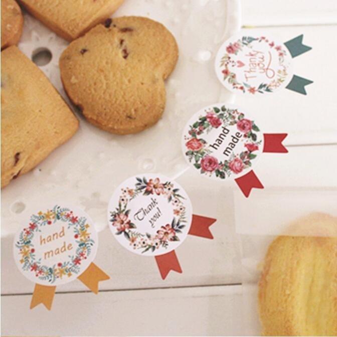 120pcs /lot Vintage Wreath Medal design color seal sticker for baking DIY Package label Decoration label stickers