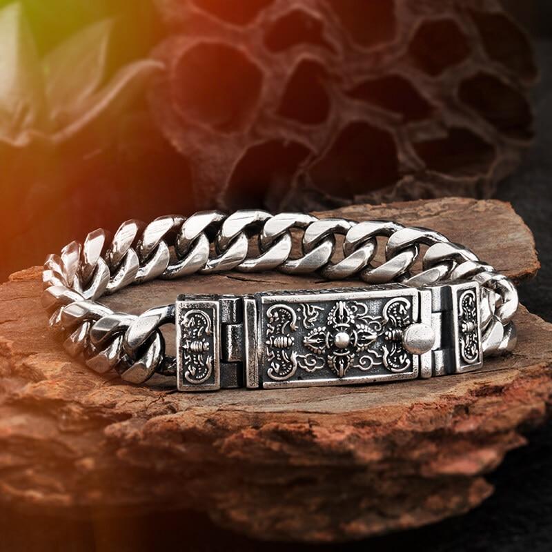 Thai Silver Cross Vajra  bracelet for men  925 Silver  Mantra vintage fashion Jewelry   mygrillzThai Silver Cross Vajra  bracelet for men  925 Silver  Mantra vintage fashion Jewelry   mygrillz