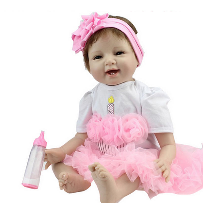 55cm Baby Sleeping Dolls Silicone Reborn Doll Girl Boy Shower Toys Early Education Dolls Pink Princess Birthday Gift Kid's Toys pink wool coat doll clothes with belt for 18 american girl doll