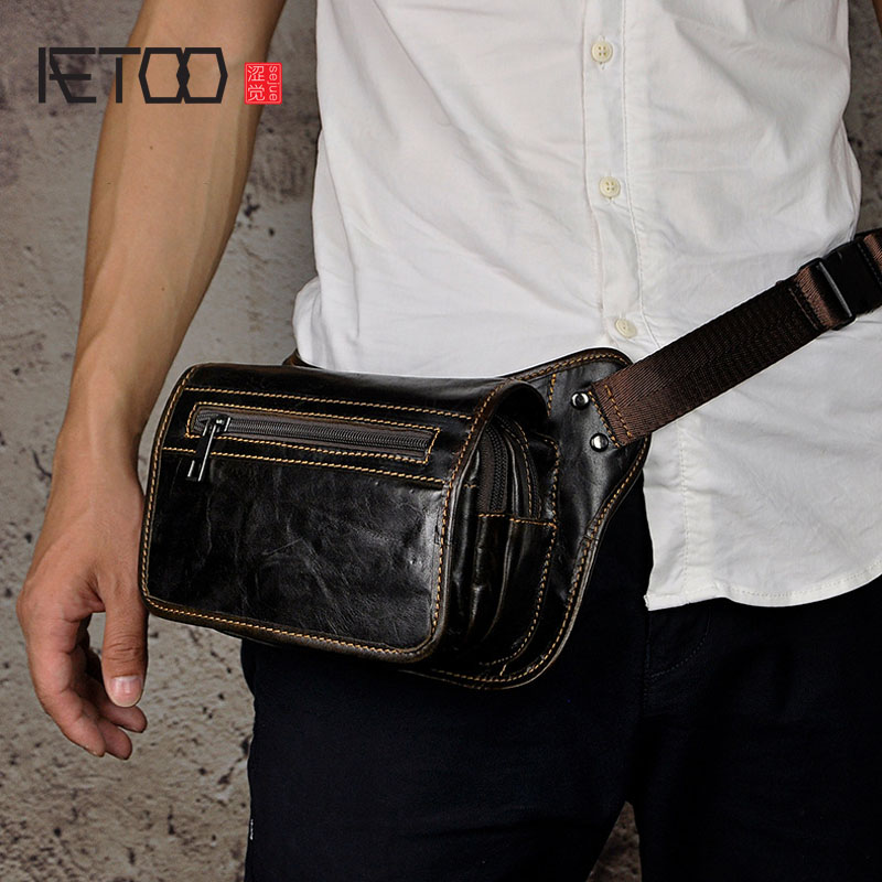 AETOO The first layer of oil wax leather leather men tide cool mobile phone camera vintage 8 inch chest bag pockets