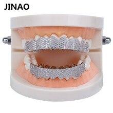 JINAO Золото Серебро Цвет Iced Out золото Grillz ювелирные изделия с кристаллами сверху снизу грили зубы Украшения для тела хип-хоп Bling AAA кубический циркон
