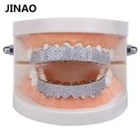 JINAO Gold Silver Color Iced Out Gold Grillz Crystal Jewelry Top Bottom Grills Teeth Body Jewelry Hip Hop Bling AAA Cubic Zircon