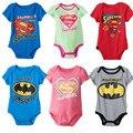Bodysuits Do Bebê Menino e Menina dos desenhos animados Manga Curta 6 Cores Superman Batman Impressão Algodão Próximo a Roupa Do Bebê Recém-nascido