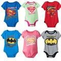 De dibujos animados Bebé Niño y Niña de Manga Corta 6 Colores Superman Batman Imprimir Algodón Siguiente Ropa de Bebé Recién Nacido