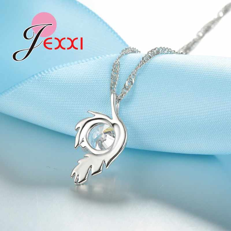 Genuine White Cubic Zirconia Pendant Necklace 925 Sterling Silver Chain Fine Jewelry for Women Simple Birthday Gifts