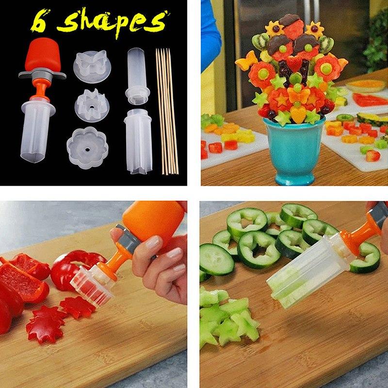 1set Torta di Frutta di Taglio di Verdure FAI DA TE Push Pop Shaper Cutter Cucina Decor Strumenti di Cibo Decorator Gadget Da Cucina Accessori Strumenti