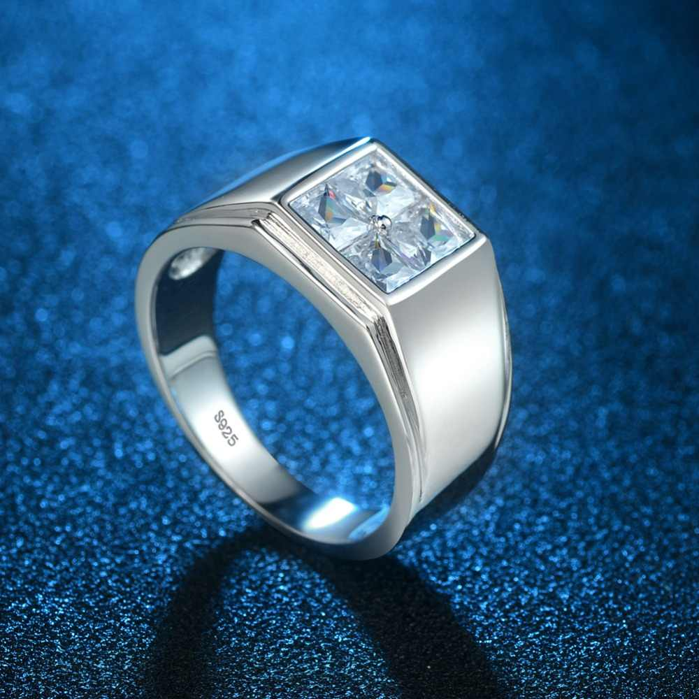 d92bb990f9ae2 Fine White Gold Coated Solid 925 Sterling Silver Men Ring wedding band  Diamond Cut Zircon Father Day Gift for DAD or boy Friends