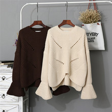 New South Korea's official website, the same paragraph loose trumpet sleeve significantly thin sweater female wholesale