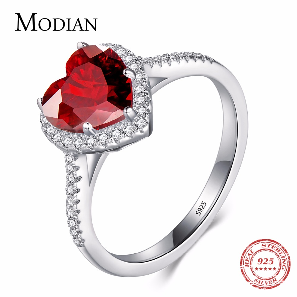 Modian 100% Real 925 Sterling Sølv Rød Hjerte Ring 5A CZ Zirconia Bryllup Smykker Mærke Engagement Hearts Rings for Women Gift