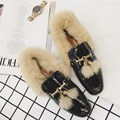 2017 Brand Real Fur Women Espadrilles Fashion Slip On Winter Boat Shoes Alpargatas Woemn Fur Moccasins Slipony Femme rihanna