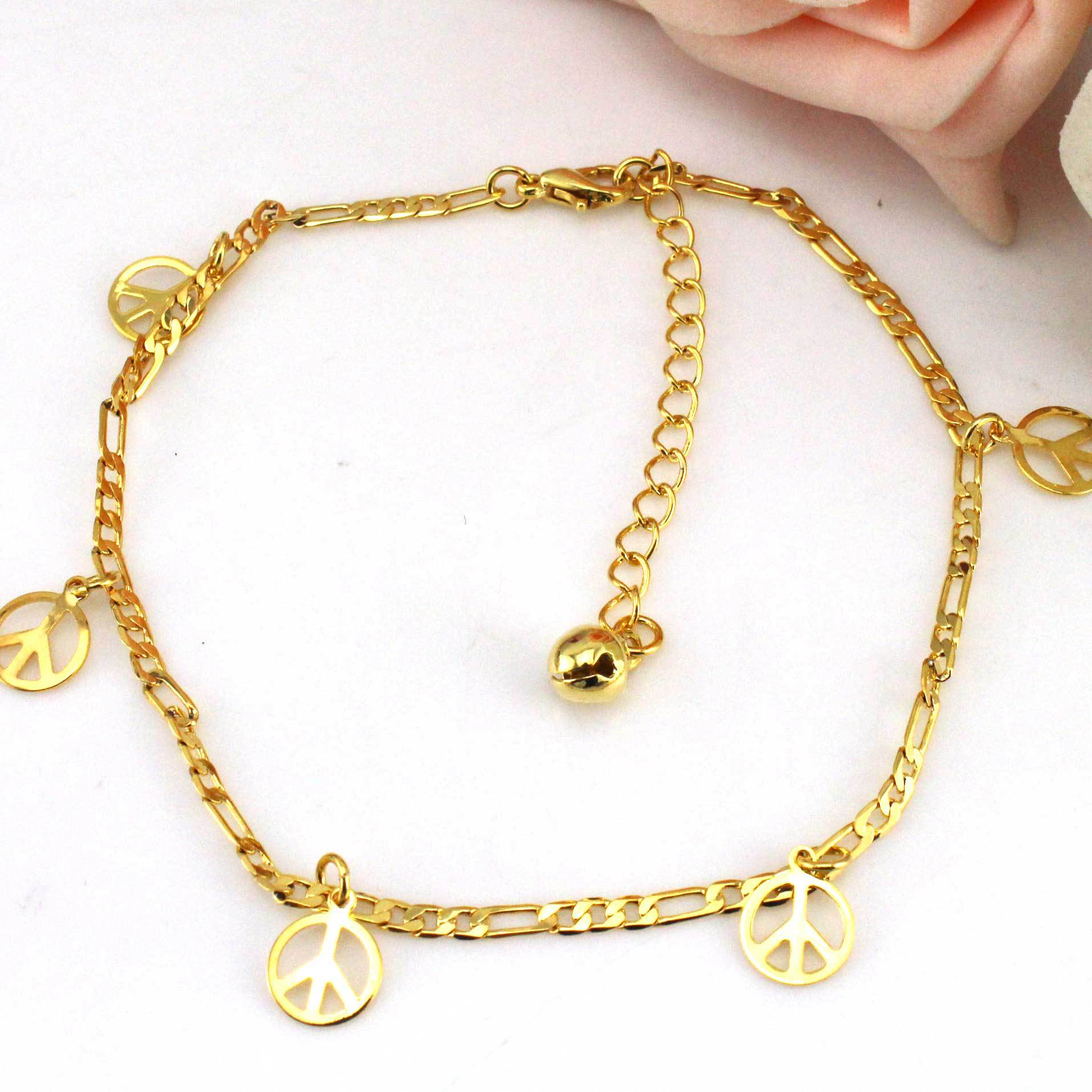 anklet flower ceramic round design chain bracelet new itm gold yellow with