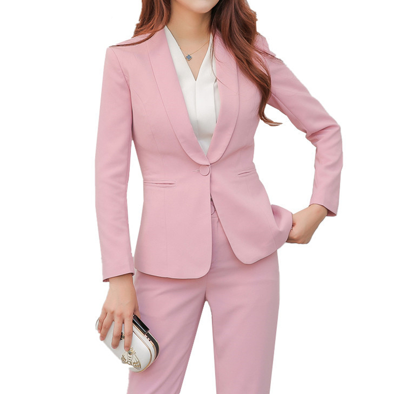254 Women 2 Piece Business Blazer Suit Set Slim Fit Professional Female Long Sleeve Pant Suits Fashion Ladies Office Work Wear