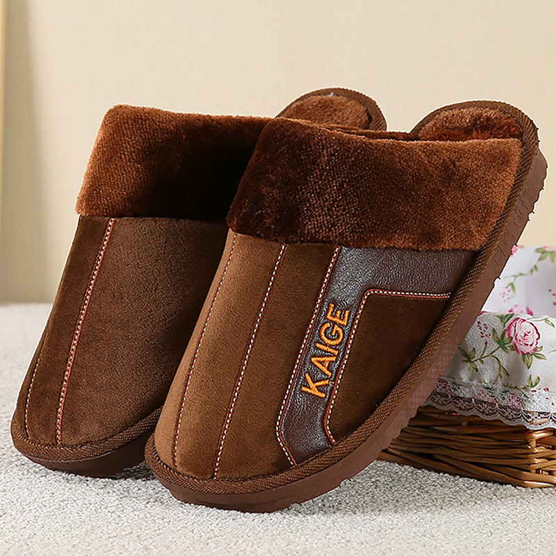 Large Size 7.5-12.5 Home Slippers For Men Sewing Plush Winter Slippers Men Soft Non-slip Warm Slippers 2019 New Arrival