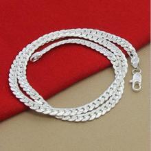 New Arrivals Women 6MM Full Sideways Silver Necklace 925 Sterling Jewelry Men