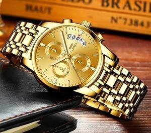 Image 2 - OLMECA Men Watch Luxury Watches Relogio Masculino 3ATM Waterproof Watches Calendar Wristwatch For Men Stainless Steel Band Saat