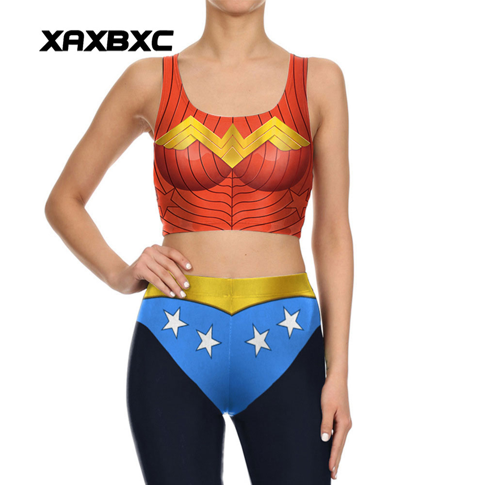XAXBXC 036 Summer Sexy Girl Vest Tank Tops Comics Wonder Woman Star Cosplay Prints Slim Fitness Sleeveless Women Cropped Tops