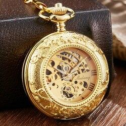 Винтажные винтажные золотые резные механические часы с изысканным циферблатом, ручные часы с цепочкой-брелоком, роскошные мужские механич...
