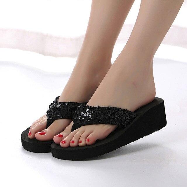 Summer Women Flip Flops Casual Sequins Anti-Slip slippers Beach Flip Flat Sandals Beach Open Toe Shoes For Ladies Shoes 3