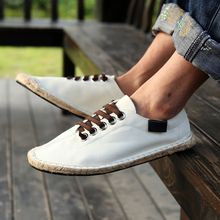 2016 New Valentine Shoes Men's Sewing Canvas Casual Slip on Loafer Breathable Driving Moccasins Shoes