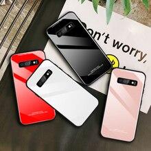 LISM Fashion Simple Plain Tempered Glass Phone Case Cover For Samsung Galaxy S8 S9 S10 Plus Lite A7 A9 A30 A40 A20 A10 A50 A60