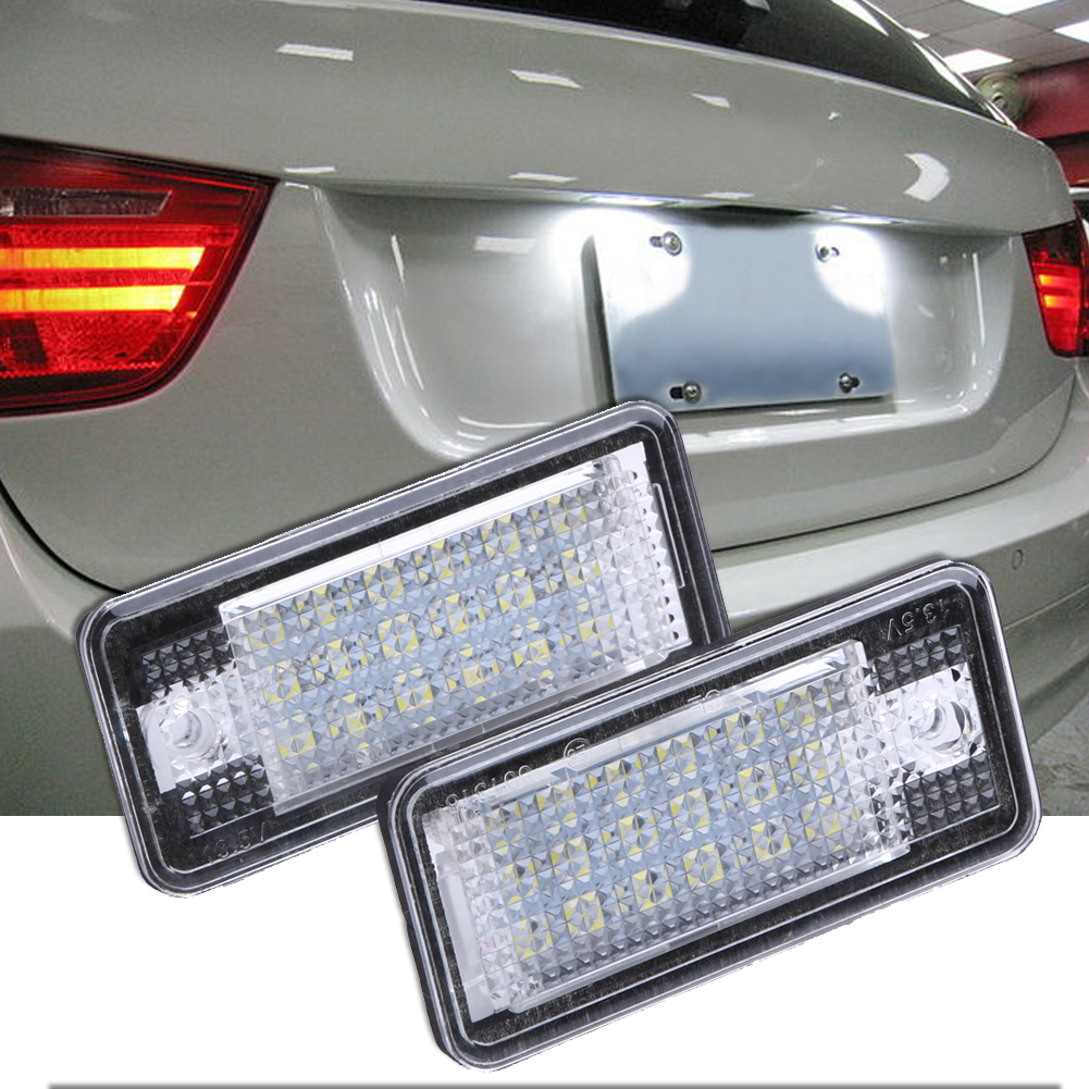 2Pcs Car-styling Error Free OBD White 18 LED Car License Number Plate Light Auto Lamp for Audi A3 S3 A4/6/8 B6/7 S3 Q7 RS4 RS6 2x e marked obc error free 24 led white license number plate light lamp for bmw e81 e82 e90 e91 e92 e93 e60 e61 e39 x1 e84
