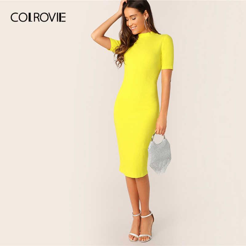 COLROVIE ярко-желтого цвета с воротником карандаш платье Для женщин 2019 летнее элегантное платье с коротким рукавом облегающее тонкое весенние офисные дамы миди платье