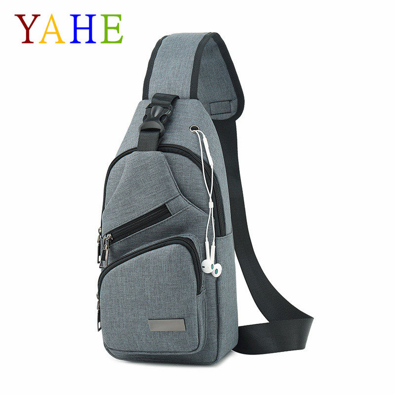Yahe Chest Bags Multifunction Canvas Crossbody Bags Male Solid Sling Handbags Summer Lightweight Mini Travel Back Pack