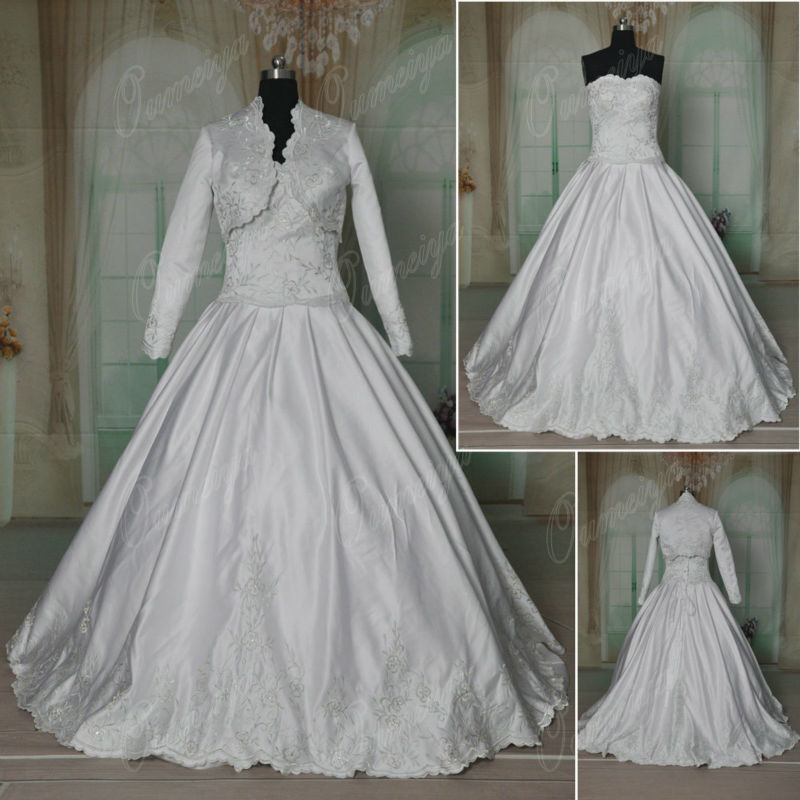 Ball Gown Embroidered Wedding Dress: ORW283 OUMEIYA 2016 Designer Satin Ball Gown Embroidery