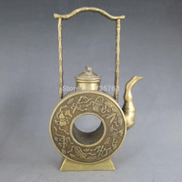 00724 Chinese Copper Bronze Ornamental Artwork Hollow Teapot Statue