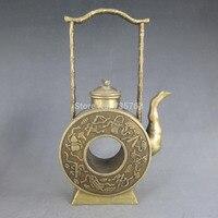 00724 Chinese Copper Bronze Ornamental Artwork Hollow Teapot Statue