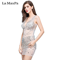 La MaxPa Female singer costume sexy perspective short dress ds dj stage costume singer dance outfit women performances clothes