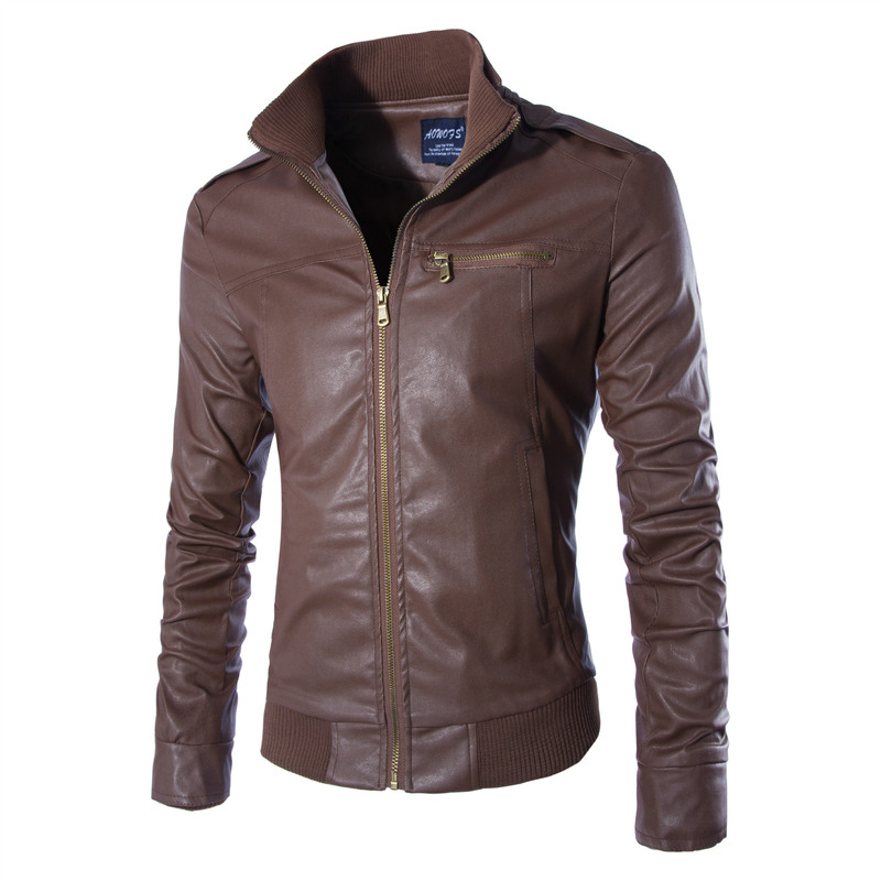 AOWOFS 2018 new mens leather gold zipper trend personality motorcycle leather jacket collar business fan mens leather jacket
