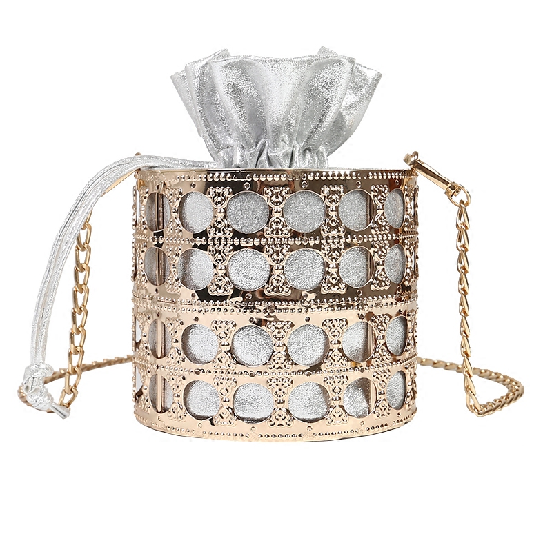 NEW design womens Hollow Evening Bag Clutch Metal Frame Embroidery Bucket Mini Bag Purse women Gold tassel Handbag