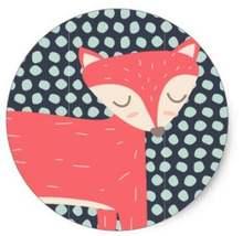 15 дюйма ретро лиса Классический круглый стикер