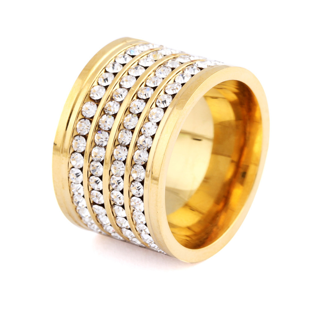 Shining full 4 row crystal rhinestone gold stainless steel for Wedding rings for male and female