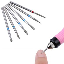 Beauty women 6Pcs/set Nail Art Grinding Heads Drill Bits kit