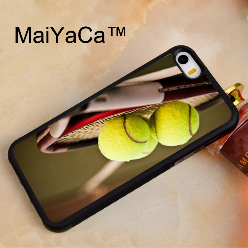 MaiYaCa Tennis Racquet & Balls New For Apple iPhone 5 5s SE Case Protect Case Cover Shockproof TPU Hard Phone Cases Coque