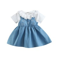 Baby Summer Girls Round Neck Cotton Rabbit Ears Denim Fake Two Piece Princess Cute Sweet Stitching Short Sleeve Dress